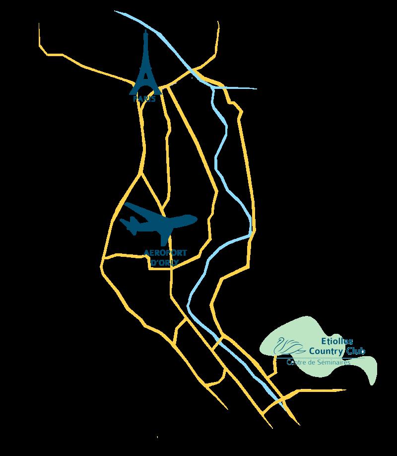 Plan d'accès à Etiolles Country Club